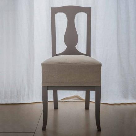 Sedia in legno di faggio laccata tortora made in Italy,Kimberly, 2 pezzi