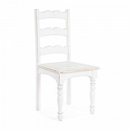 Sedia in Legno di Mango Massello di Design Classico Homemotion - Blanche
