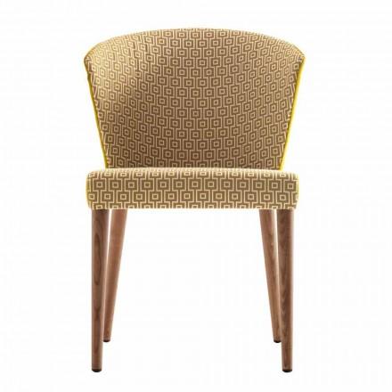 Sedia in legno massello moderna imbottita Grilli York made in Italy, 2 pezzi