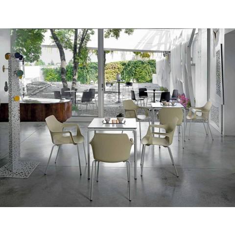 Sedia in Metallo e Polipropilene Impilabile Made in Italy, 4 Pezzi - Caramel