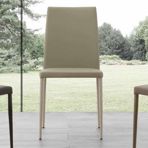 Sedia da cucina design moderno in ecopelle e metallo caserta for Sedia design moderno