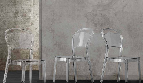Sedia in policarbonato trasparente per cucina sala da pranzo ferrara