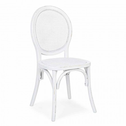 Sedia in Rattan e Legno di Olmo di Design Classico Homemotion - Alfreda