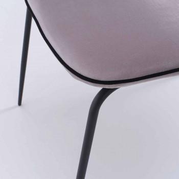 Sedia Moderna con Braccioli e Seduta Rivestita in Velluto, 4 Pezzi - Cioli