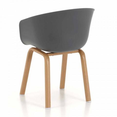 Sedia Moderna con Seduta in Polipropilene e Gambe in Metallo, 4 Pezzi - Spigola