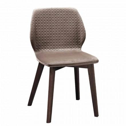 Sedia Moderna di Design Elegante in Velluto Trapuntato e Legno 4 Pezzi - Scarat