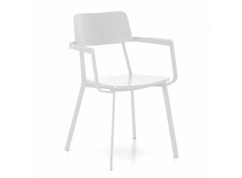 Sedia Moderna in Legno con Struttura in Metallo Verniciato, 4 Pezzi - Habibi
