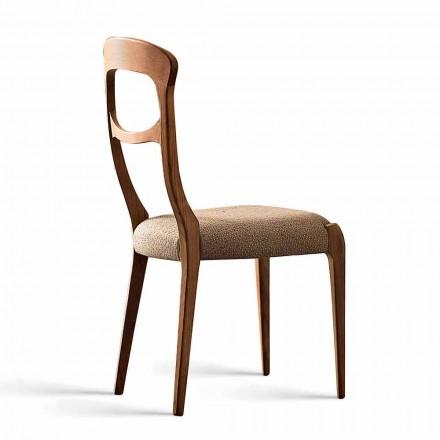 Sedia moderna in noce massello canaletto e seduta imbottita, Gemma