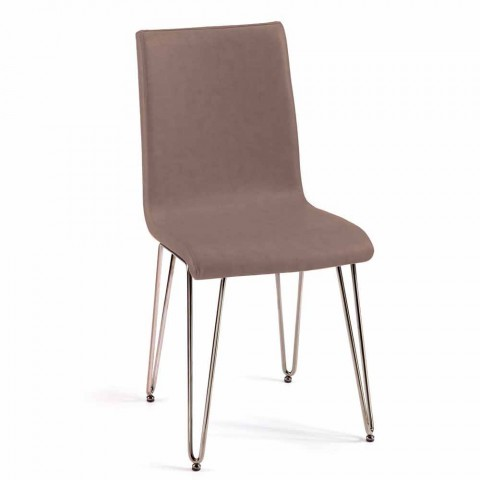 Sedia di design moderno in pelle o similpelle H90cm made in Italy Maha