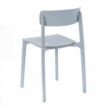 Sedia Moderna in Polipropilene Colorato Impilabile, 4 Pezzi - Tierra