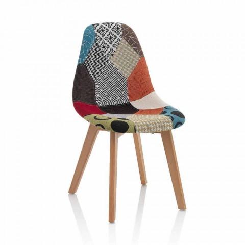 Sedia Moderna in Tessuto Patchwork con Gambe in Legno, 4 Pezzi - Selena