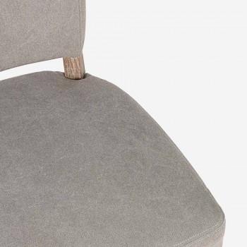 Sedia Moderna per Sala da Pranzo in Tessuto e Legno 2 Pezzi Homemotion - Susina