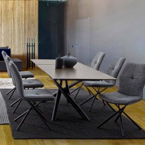 Sedia Moderna Rivestita in Poliestere e Similpelle 4 pezzi Homemotion - Plero
