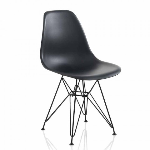 Sedia Moderna Sala da Pranzo in Polipropilene e Metallo, 4 Pezzi - Chiazza