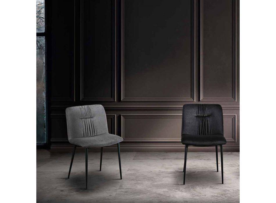 Sedia Monoscocca in Tessuto Colorato e Metallo Nero Design 4 Pezzi - Florinda