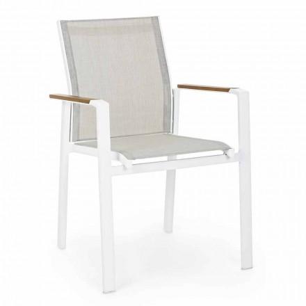 Sedia per Esterno Impilabile con Braccioli in Alluminio Homemotion - Sciullo