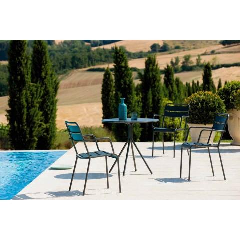 Sedia per Esterno Impilabile Verniciata a Polvere Made in Italy, 4 Pezzi - Amina
