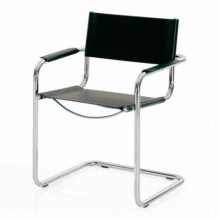 Sedia per Sala Congressi o per Sala Riunioni in Cuoio Nero e Metallo – Cirillo