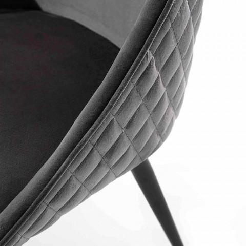 Sedia per Sala da Pranzo con Seduta Rivestita in Velluto o Ecopelle - Alida