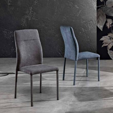Sedia per sala da pranzo di design in tessuto made in Italy, Luigina