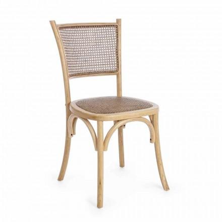 Sedia per Sala da Pranzo in Rattan e Legno Design Classico Homemotion - Meridia