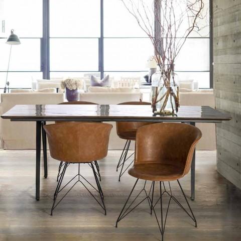 Sedia per Sala da Pranzo in Similpelle e Acciaio 2 Pezzi Homemotion - Katya