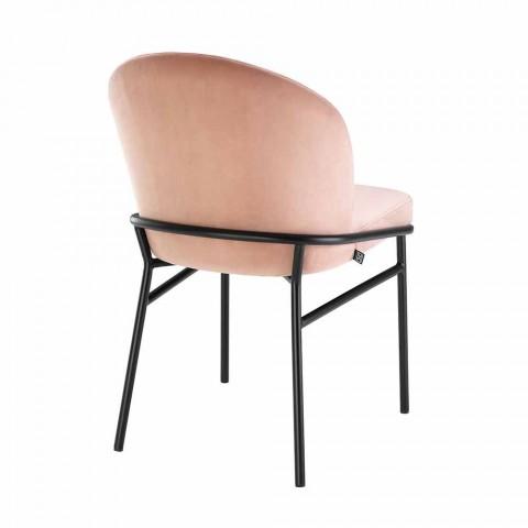 Sedia per Sala da Pranzo Moderna in Tessuto e Ferro Nero, 2 Pezzi - Marica