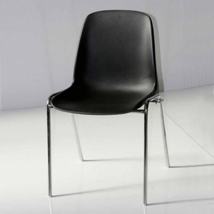 Sedia per Sala Riunioni o Sala Congressi Moderna in Metallo e ABS Nero – Zetica
