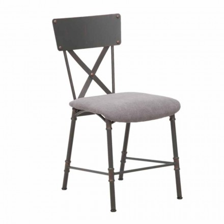 Sedia Sala da Pranzo di Design Industrial in MDF e Metallo - Elodie