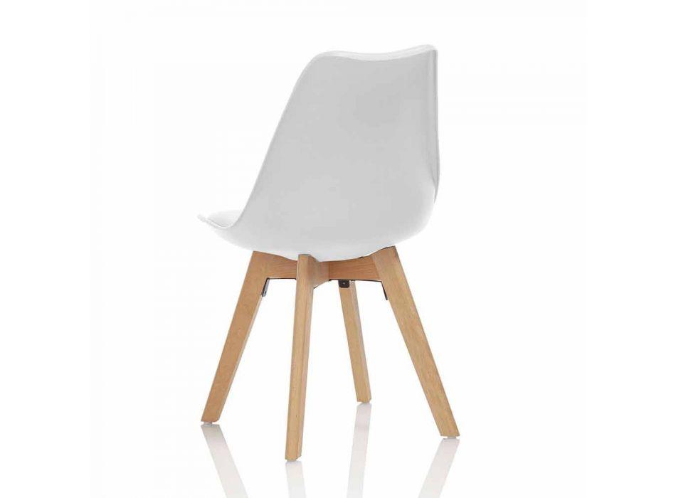 Sedia Sala da Pranzo in Pvc e Legno con Seduta in Similpelle, 4 Pezzi - Perizia