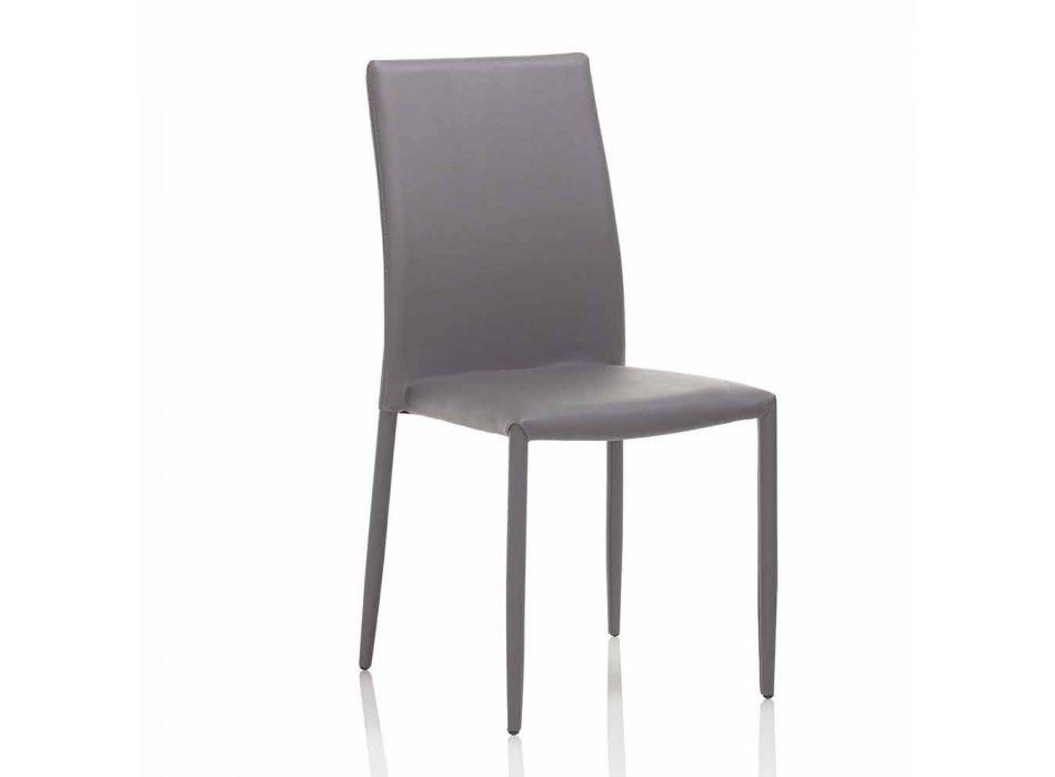 Sedia Sala da Pranzo in Similpelle e con Struttura in Metallo, 4 Pezzi - Giola