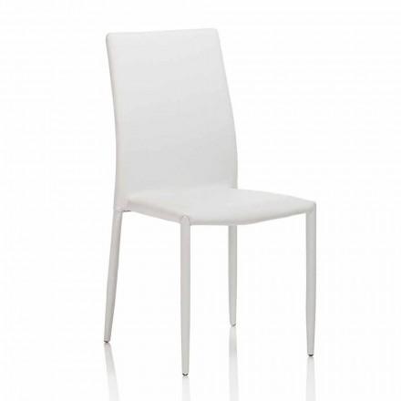 Sedia Sala da Pranzo in Similpelle con Struttura in Metallo, 4 Pezzi - Giola