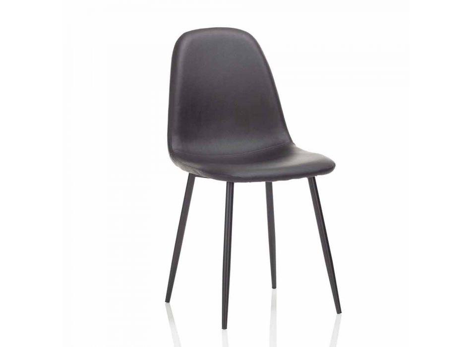 Sedia Sala da Pranzo Moderna in Similpelle e Metallo Nero, 4 Pezzi - Pocolo