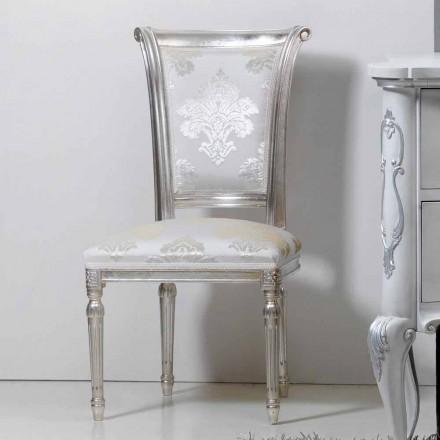 Sedia stile classico in legno con gambe foglia argento Miel
