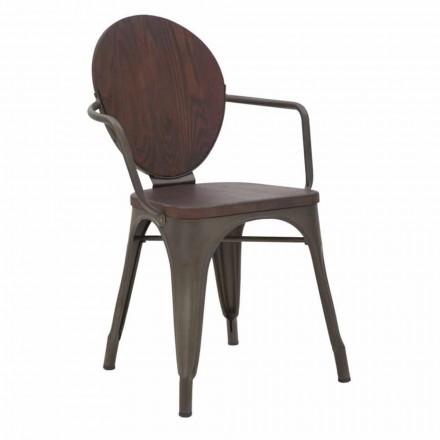 Sedia di Design Industrial Seduta in Legno e Base in Ferro, 2 Pezzi - Delia