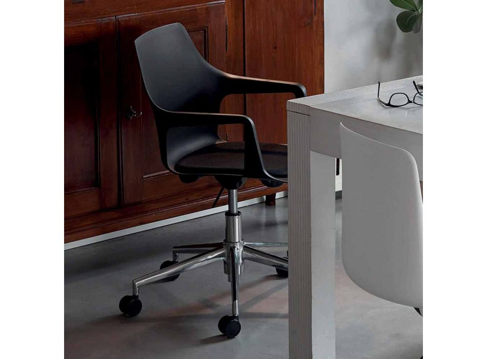 Sedia Ufficio in Alluminio e Polipropilene Made in Italy, 2 Pezzi - Charis