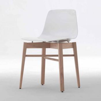 Sedie in Legno Rovere e Plastica Bianca di Design Moderno 2 Pezzi - Langoustine