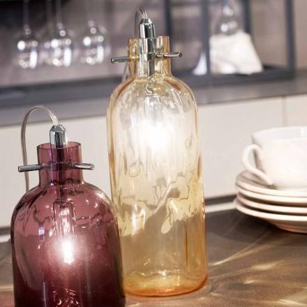 Selene Bossa Nova lampada da tavolo Ø10 H 26cm in vetro soffiato ambra