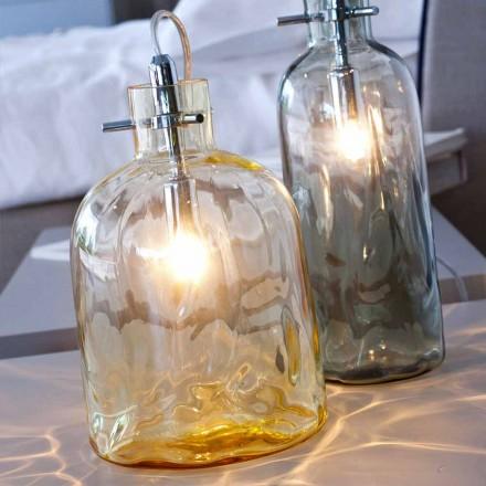 Selene Bossa Nova lampada da tavolo Ø15 H 21cm in vetro soffiato ambra