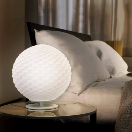 Selene Domino lampada da tavolo bianca in vetro soffiato Ø27 H 30cm