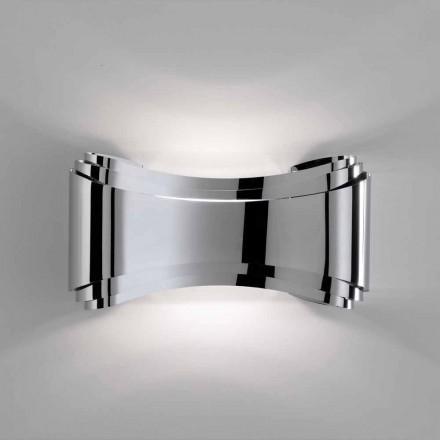 Selene Ionica lampada a muro made in Italy,30x10 H16cm,vetro e acciaio