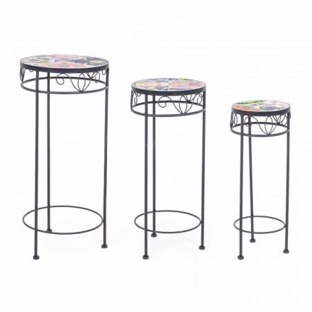 3 Tavolini Tondi da Esterno in Acciaio con Decori di Design  - Incantevole