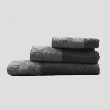 Servizio Asciugamani Viso, Ospite e Telo in Spugna con Decoro, 3 Pezzi - Hassim