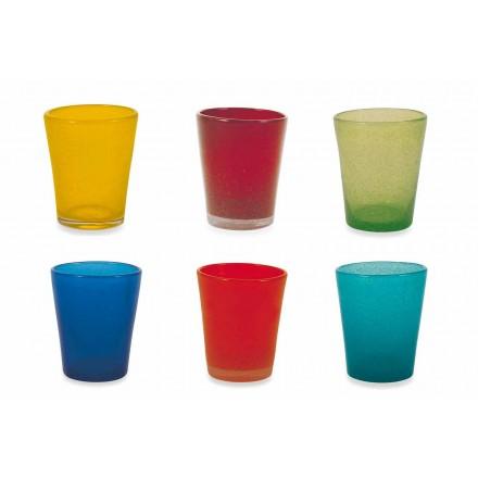 Servizio Bicchieri Acqua 12 Pezzi di Vetro Soffiato e Colorato - Yucatan Folk