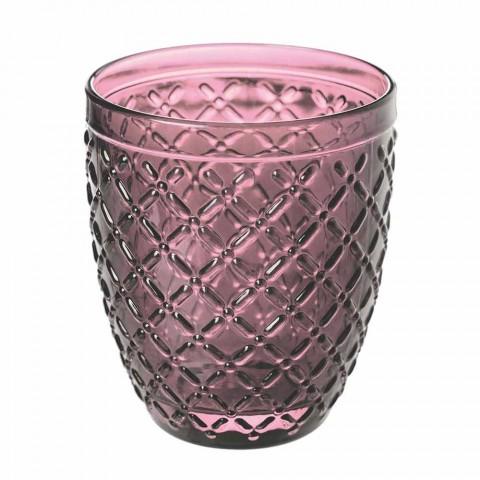 Servizio Bicchieri Acqua Colorati e Decorati 12 Pezzi di Vetro - Losanga