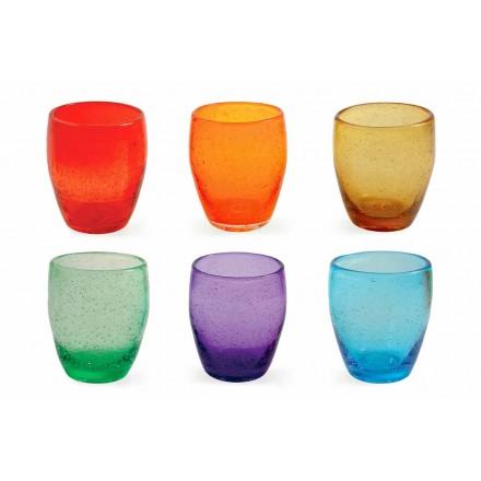 Servizio Bicchieri Acqua in Vetro Soffiato Colorato Moderno 12 Pezzi - Guerrero