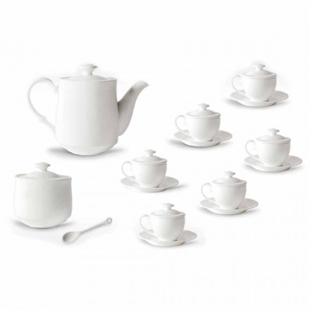 Servizio Completo di Tazze da Caffè 21 Pezzi in Porcellana Bianca - Samantha