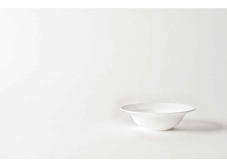 Servizio da Dolce 6 Coppette e 6 Piattini Design in Porcellana Bianca - Samantha