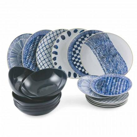 Servizio da Tavola Piatti Blu Colorati in Porcellana e Gres 18 Pezzi - Tribu