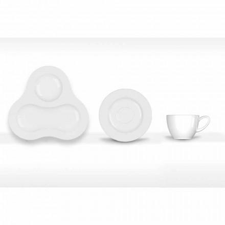Servizio da Tè Completo Design Moderno in Porcellana Bianca 14 Pezzi - Telescopo